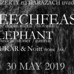 Leechfeast / Elephant / Krajne Cierno / Amorim zajtra na Garážach v Bratislave